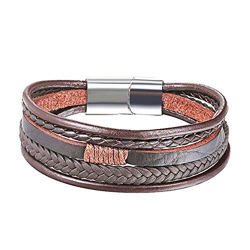 Armband Armreif,Schmuck Geschenk, Multilayer Real Leather Bracelet Men Stainless Steel Magnet Buckle Men Gift Friendship Bracelet Pulseras 19 Choice as picture1 24cm