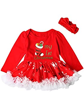 Hankyky Baby Weihnachten Kleinkind Spielanzug Overall Bodies Kleider Mädchen Christmas Kleidung Set Outfit Strampler...