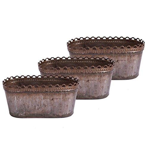 Lot de 3 Bol à Fleurs Antique Pot à Fleurs Pot de Fleurs Pot Ovale Pot Métal Zinc Bol Jardinière Rouille ou Plomb Finition (27.3 cm)