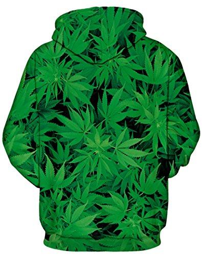 AureQet Herren 3D Druck Kapuzenpullover Cartoon Sweatshirt Weihnachten Langarm Top Slim Fit Hoodie Grün Blätter