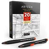 ARTEZA Matita HB Meccanica, Set Matite da Disegno da 20 Portamine con Mina Media da 0,7 mm. e Gomma Sostituibile, Impugnatura Matita Senza Lattice