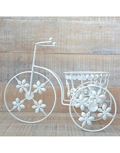 Macetero de Forja Bicicleta Vintage Color Blanco Decoración Terraza Jardín France.