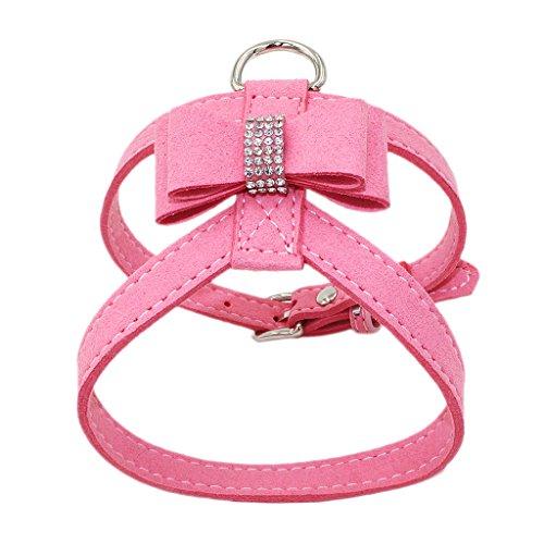 Homyl Verstellbarer Hundegeschirr Brustgeschirr Softgeschirr mit Strass Schleife Dekor für Hunde Training - Rosa, M (Rosa Strass Hundegeschirr)