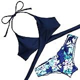 Lever Damen Bikini Mit Gepolsterte Cups Bügellos Bikinis Triangel Bikini Neckholder Blumen M