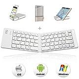 Teclado Bluetooth Plegable, IKOS pórtatil Teclado Inalámbrico Mini peque Ultra delgado Teclado de...