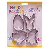 4x verschiedene Oster Metall Keks- & Gebäck Ausstecher - Ei, Huhn & Hasen