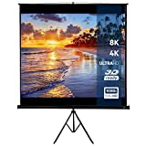 Jago Portable Projector Screen (203x203cm / 113 inch) with stand-tripod, 3D HD 4K Compatible, Retractable screen format: 1:1, 4:3, 16:9 and others | Movie Screen, Home Cinema Theater, Workplace Presentations