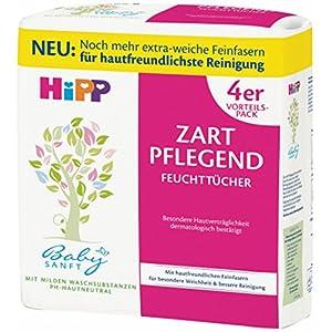 HiPP Babysanft Feuchttücher zart pflegend, 3er Pack (Jede Packung enthält 4 x 56 Tücher)