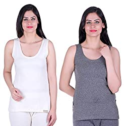 DREAMDROP Womens WHITE AND GREY SL Thermal Top(PACK OF 2) (Large)