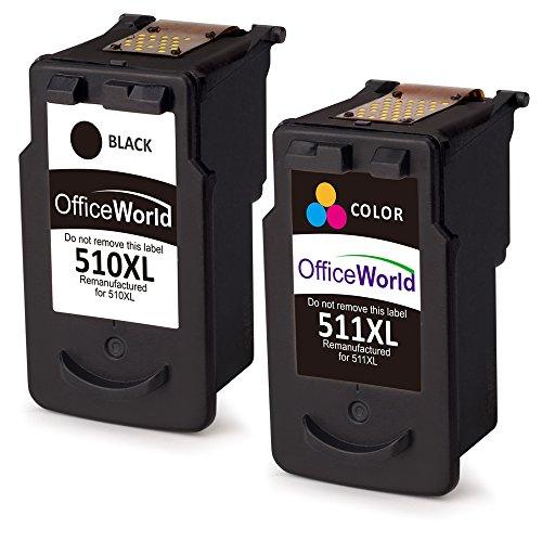OfficeWorld PG-510XL CL-511XL Remanufacturado Canon PG-510 CL-511 Cartuchos de tinta Compatible con Canon Pixma MP240 MP250 MP260 MP270 MP272 MP280 MP330 MP480 MP490 MP495 MX320 MX340 IP2700 IP2702