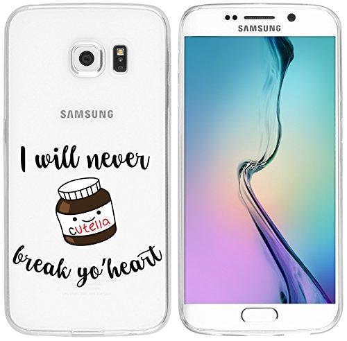 Mobile-edge-schokolade (Samsung Galaxy S6 Edge Hülle von licaso® für das Galaxy S6 Edge aus TPU Silikon I will never break yo' Heart Cutella Herz Süß Frühstück Muster ultra-dünn schützt Dein Samsung Galaxy S6 Edge & ist stylisch Schutzhülle Bumper in einem (Samsung Galaxy S6 Edge, Cutella))