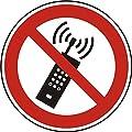 Verbotszeichen - Mobilfunk verboten - Ø 100 mm - 2 Verbotsschilder aus Polypropylen Folie, weiß (Aufdruckfarbe: schwarz/rot), permanent haftend