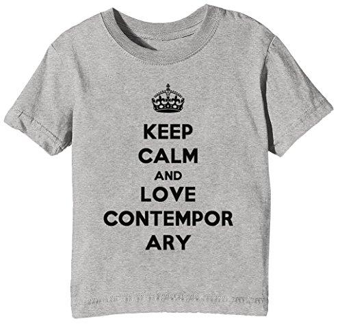 Keep Calm and Love Contemporary Country Kinder Unisex Jungen Mädchen T-Shirt Rundhals Grau Kurzarm Größe XS Kids Boys Girls Grey X-Small Size XS