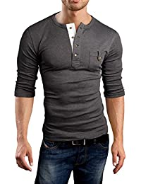 Grin&Bear Slim Fit 3/4 Arm Henley Shirt T-Shirt, BH108