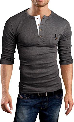 Grin&Bear Slim Fit 3/4 Arm Henley Shirt T-Shirt, BH108 kurzarm/anthrazit