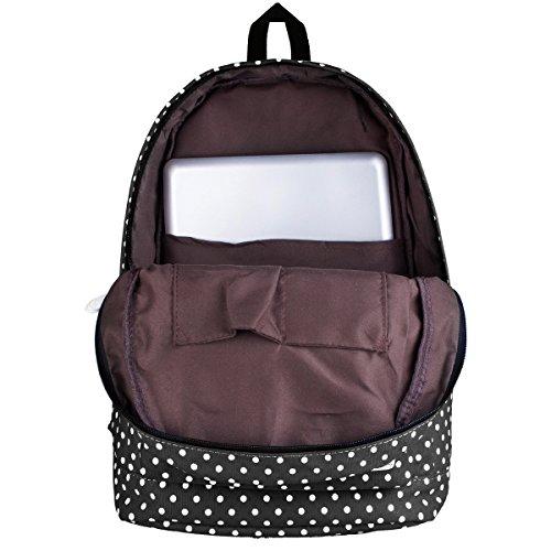"""S-ZONE leggero casuale Daypack Tela Pois Backpack 14 """"-15"""" PC sacchetto di scuola del computer portatile per ragazze adolescenti BLACK"""