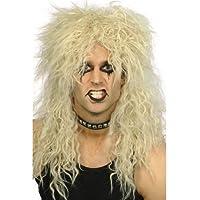 Mens Womens Black Blond 80s Rocker Heavy Metal Slash Kiss Punk Fancy Dress WIG