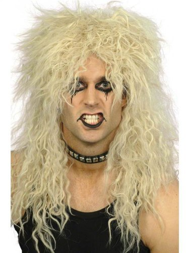 Mens Womens Black Blond 80s Rocker Heavy Metal Slash Kiss Punk Fancy Dress WIG[Blond] SMF 22042 by Partyrama