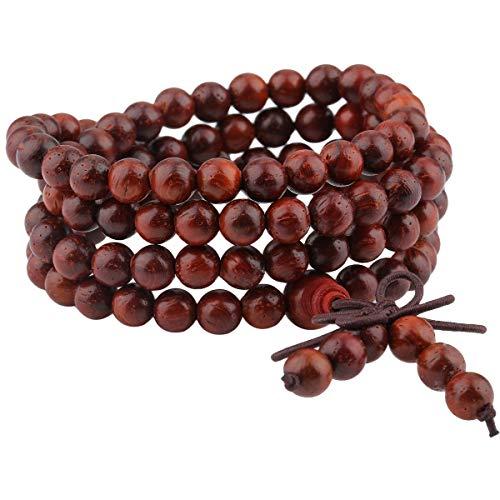Sharvgun elastisches Holz Armband mit 108 Perlen, Buddhistische Tibetische Gebetskette, Buddha Mala Kette Halskette für Yoga & Meditation