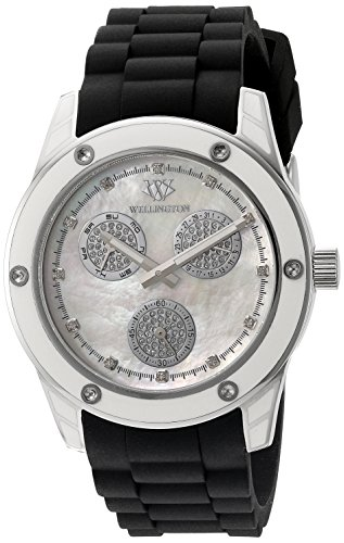 Wellington Geraldine Women's Quartz Watch with Mother of Pearl Dial Analogue Display and Black Silicone Strap WN506-182A