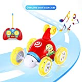 OCDAY 2 canaux télécommande pour Voiture Stunt Twister 3D Rotation Véhicule Jouet avec Musique LED Lumières pour Enfants Tout-Petits