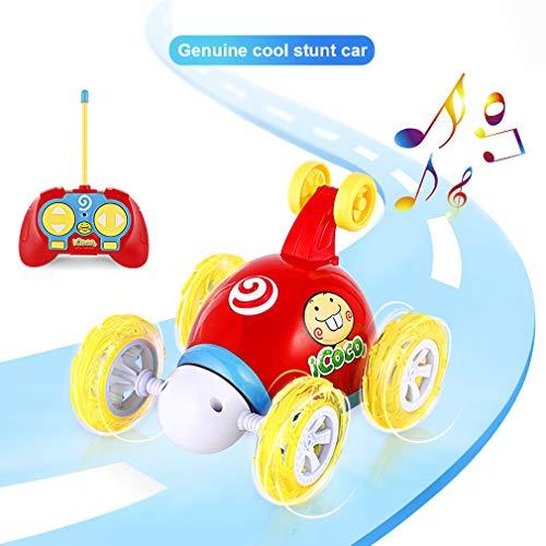 OCDAY Fernbedienung Auto, RC Stunt Car Invincible Tornado Twister Fernbedienung Wiederaufladbares Fahrzeug mit LED-Lichtern & Musikschalter für Kinder (Rot)