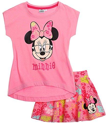 lektion 2018 T-Shirt und Rock 98 104 110 116 122 128 134 140 Mädchen Bekleidungsset Sommer Neu Maus Disney (Rosa, 122-128) (Minnie Rock)