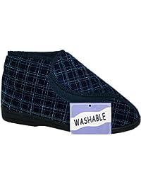 Hombres De Lujo Marina Azul Cuadros Ortopédicos Todo Lavable Ajuste Velcro Botas Zapatillas Con Agarre talla UK 8