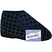 Diabetic ortopedico da uomo, Blu navy completamente lavabile velcro Pantofola