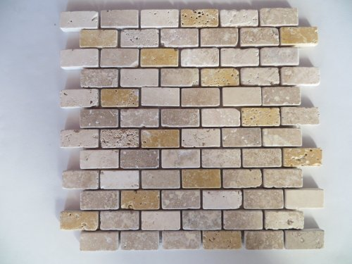 Marmor Mosaik Travertin Mix Fliesen 23x48x10mm Beige, Braun, Gelb - 1 Matte getrommelt, 0,09m² - Getrommelt Travertin Fliese