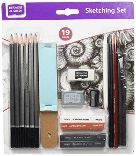 Derwent Academy - Set para bocetos y esbozos, con barras de grafito y barras pastel incluidos, color blanco y sanguina