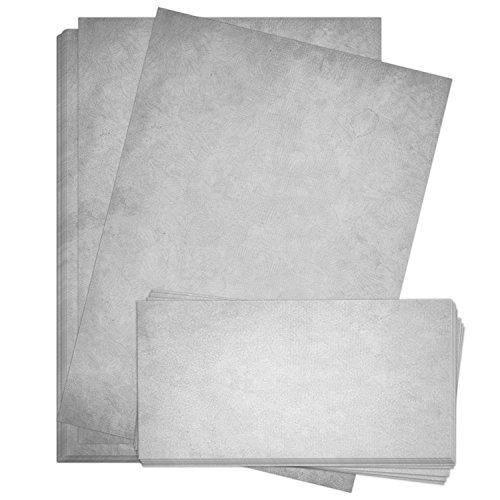 50 x Briefpapier und 50 x Briefumschläge Altes Papier Vintage Grau