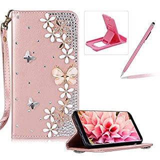 Herzzer Diamond Leather Case for Samsung Galaxy S6,Rose Gold Strap Wallet Cover for Samsung Galaxy S6, Luxury 3D Butterfly Decor Design Stand Glitter Magnetic Smart Leather Case with Soft Inner