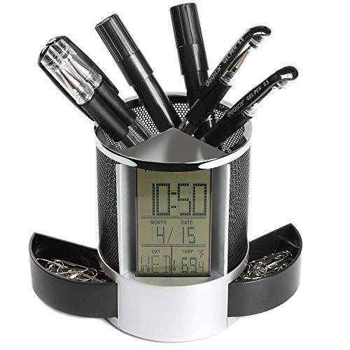 Wawer Multifunktionale Desktop Digital LED Schreibtisch Wecker/Mesh Stifthalter Bleistifthalter/Kalender / Timer/Thermometer / Automatische Schubladen (A) (Digital-thermometer-desktop)