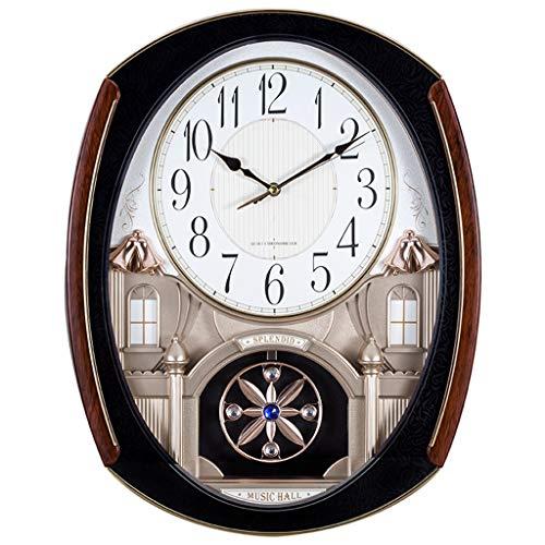 LYM Uhren Wanduhr musikalische Bewegung Wanduhren Nicht Ticken dekorative Wohnzimmer Dekor Blue Night Ligh Musik Melodien leuchtenden Schlafzimmer stumm groß Wanduhren (Farbe : B) (Musikalische Bewegung Uhren)