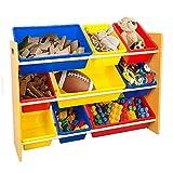 TOP-MAX Kinderregal Spielzeugregal Kinder Aufbewahrungsregal Spielzeugablage Natürlich Holzregal mit 9