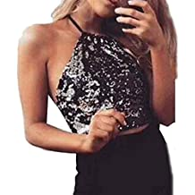 SKY Hot to wear it !!! Chaleco sin mangas con lentejuelas Backless Sequins Tops