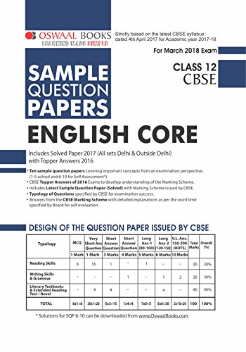 Oswaal CBSE Sample Question Papers For Class 12 English Core (Mar 2018 Exam)