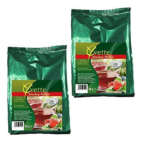 Yvette Strawberry Teepads, Teebeutel, Schwarzer Tee, passend für Senseo, 40 Pads