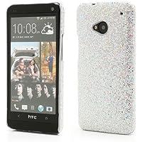 Hardcase Klemmhülle Handyhülle Schutzhülle Case Cover Schale Hülle HTC One / M7 / 801e Glitzer Silber shiny