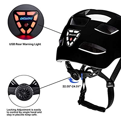 Exclusky Adult Road Bike Helmet with USB Rear Light, CE Certified Bicycle Cycle Helmets, Adjustable Lightweight Helmet for Adult Women Men, 22.05-24.01 Inches by Exclusky