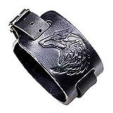 Leder-Armband-Wolf-Kopf-Armband-Punkrock-Style, verstell- breiten Armband-Stulpe-Armband-Bügel-Armband für Männer und Frauen (Schwarz, 1Pcs)