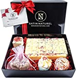 """Organic Bath Bombs """"Tempting Rose"""" 7-Piece Set / High-Quality Bath Pralines In Elegant Gift Box With Real Satin Bow / Extraordinary Present Idea For Women / Vegan With Shea Butter"""