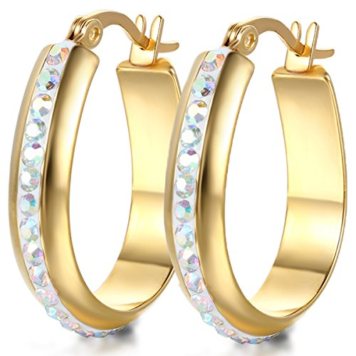 JewelryWe Schmuck Damen Ohrringe, große Oval Edelstahl Strass Linie Creolen Ohrhänger, Gold