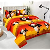 BSB Trendz Premium Polycotton Feels Like Glace Cotton Bedsheet With 3D HD Black Panda Print With Yellow Base Double Bed Bedsheet With 2 Pillow Covers||Bedsheet Size-88X88 Inches|| Pillow Cover Size-17x27 Inches. Vi2657