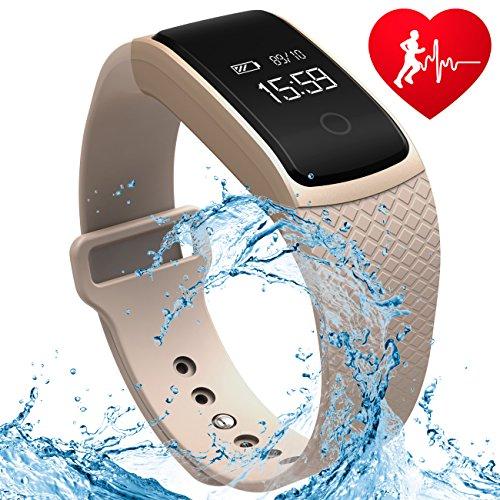 A09 Fitness Tracker Heart Rate Monitor di pressione sanguigna Bracciale Smart Band Bracciale orologio Bluetooth Smartband IP67 impermeabile Smartwatch orologio contapassi attività per iPhone smartphone Android IOS (Champagne oro)
