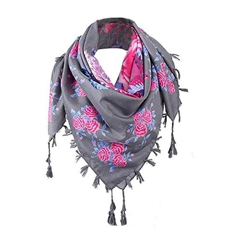 Woman Scarf, KEERADS Ladies Floral Print Long Scarves Neck Scarf Tassel Shawl Wrap (Gray)