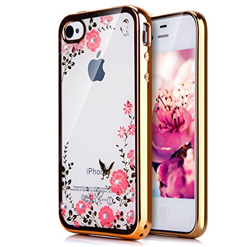 Custodia iPhone 4S,Custodia iPhone 4, Cover iPhone 4S / 4, ikasus® Placcatura in oro rosa Lucido di cristallo di scintillio strass Diamante Glitter Plating Rose Golden iPhone 4S / 4 Custodia Cover [Cr Doro Fiori rosa