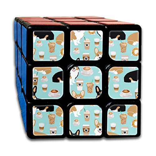 Corgis and Coffees Cute Tricolored and Red Corgi Coffee Lovers Design Magic Speed Cubes Sets 3x3x3 Puzzles Toys Solid & Durable (56mm) Creek-snap