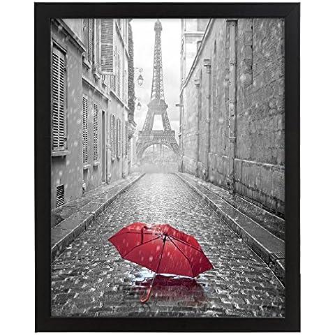 Marco de fotos de madera con cristal para fotos de tamaño A5 (14,8 x 21 cm), negro, incluye accesorios para colgar